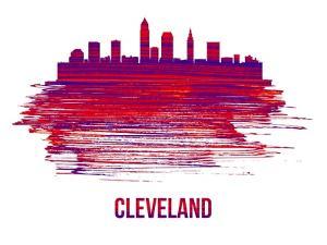 Cleveland Skyline Brush Stroke - Red by NaxArt