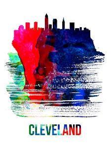 Cleveland Skyline Brush Stroke - Watercolor by NaxArt