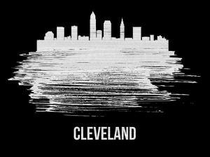 Cleveland Skyline Brush Stroke - White by NaxArt