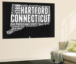 Connecticut Black and White Map by NaxArt