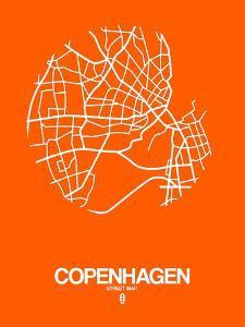 Copenhagen Street Map Orange by NaxArt
