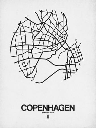 Copenhagen Street Map White by NaxArt