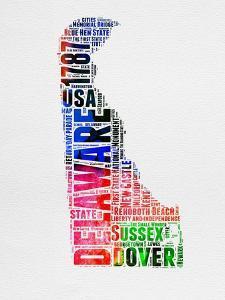 Delaware Watercolor Word Cloud by NaxArt