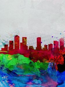 Denver Watercolor Skyline by NaxArt