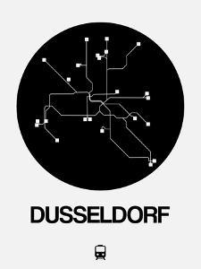 Dusseldorf Black Subway Map by NaxArt