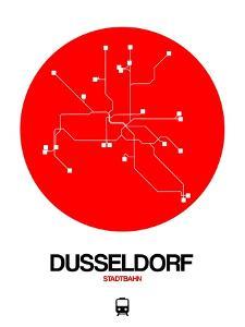 Dusseldorf Red Subway Map by NaxArt