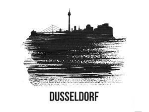 Dusseldorf Skyline Brush Stroke - Black II by NaxArt