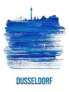 Dusseldorf Skyline Brush Stroke - Blue by NaxArt