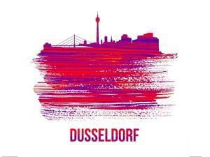 Dusseldorf Skyline Brush Stroke - Red by NaxArt
