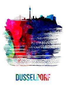 Dusseldorf Skyline Brush Stroke - Watercolor by NaxArt