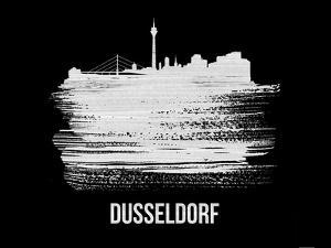 Dusseldorf Skyline Brush Stroke - White by NaxArt