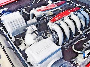 Ferrari 512 TR Testarossa Engine Watercolor by NaxArt