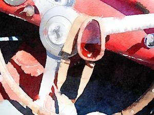 Ferrari Steering Wheel Watercolor by NaxArt