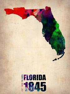 Florida Watercolor Map by NaxArt