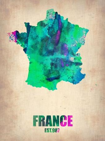 France Watercolor Map by NaxArt