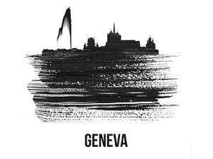 Geneva Skyline Brush Stroke - Black II by NaxArt