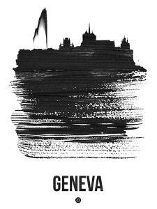 Geneva Skyline Brush Stroke - Black by NaxArt