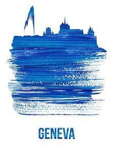 Geneva Skyline Brush Stroke - Blue by NaxArt