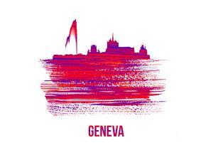 Geneva Skyline Brush Stroke - Red by NaxArt