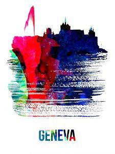 Geneva Skyline Brush Stroke - Watercolor by NaxArt