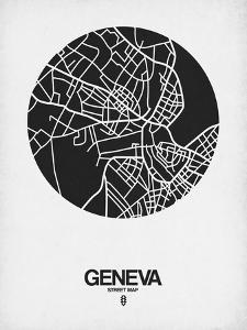 Geneva Street Map Black on White by NaxArt
