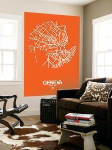Geneva Street Map Orange by NaxArt