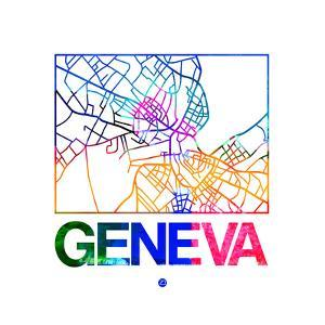 Geneva Watercolor Street Map by NaxArt
