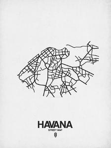 Havana Street Map White by NaxArt