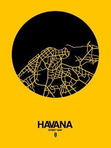 Havana Street Map Yellow by NaxArt