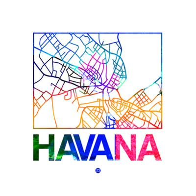 Havana Watercolor Street Map by NaxArt
