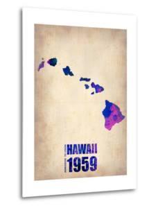 Hawaii Watercolor Map by NaxArt