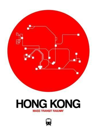 Hong Kong Red Subway Map by NaxArt