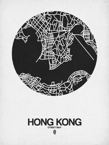 Hong Kong Street Map Black on White by NaxArt