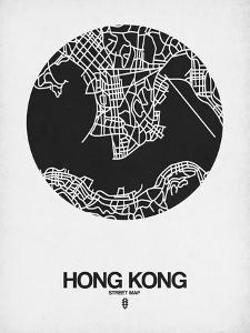 Hong Kong Street Map Black on White by NaxArt