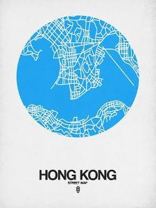 Hong Kong Street Map Blue by NaxArt