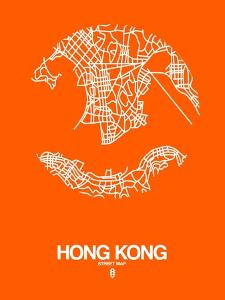 Hong Kong Street Map Orange by NaxArt