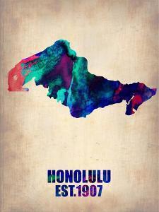 Honolulu Watercolor Map by NaxArt