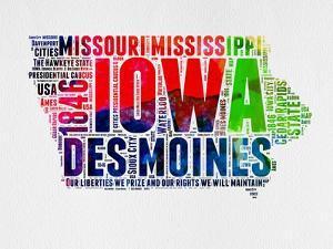 Iowa Watercolor Word Cloud by NaxArt