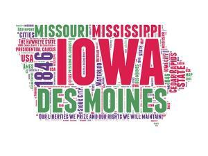 Iowa Word Cloud Map by NaxArt