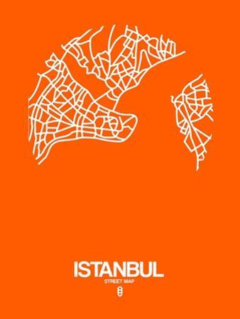 Istanbul Street Map Orange by NaxArt