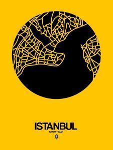 Istanbul Street Map Yellow by NaxArt