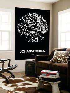 Johannesburg Street Map Black by NaxArt