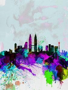 Kuala Lumpur Watercolor Skyline by NaxArt