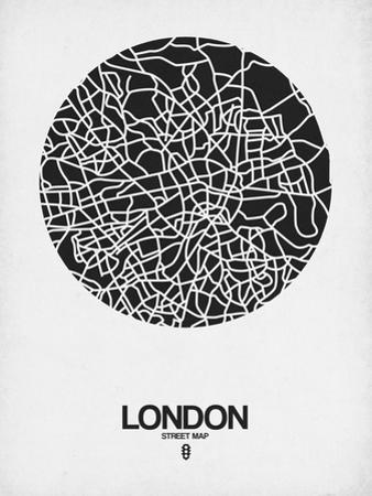 London Street Map Black on White by NaxArt