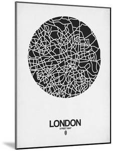 London Street Map Black on White by NaxArt
