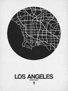 Los Angeles Street Map Black on White by NaxArt