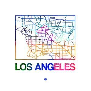 Los Angeles Watercolor Street Map by NaxArt