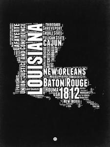 Louisiana Black and White Map by NaxArt