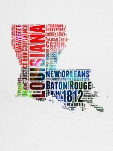 Louisiana Watercolor Word Cloud by NaxArt
