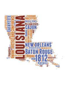 Louisiana Word Cloud Map by NaxArt
